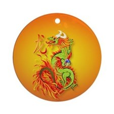 Circle ornament Flaming Dragon with Round Ornament