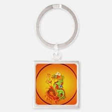 Circle ornament Flaming Dragon wit Square Keychain