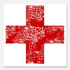 "red cross Square Car Magnet 3"" x 3"""