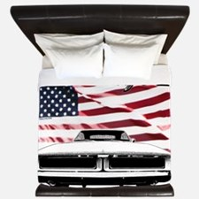 1969 Charger USA flag front King Duvet