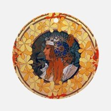 Byzantine Blonde Head by Alphonse M Round Ornament