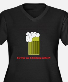 beer coffee  Women's Plus Size Dark V-Neck T-Shirt