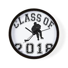Class Of 2018 Hockey - Black 2 D Wall Clock