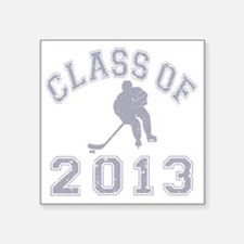 "Class Of 2013 Hockey - Grey Square Sticker 3"" x 3"""