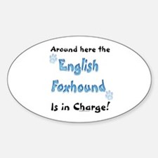 English Foxhound Charge Oval Decal