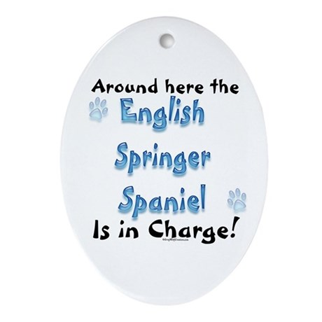 English Springer Charge Oval Ornament