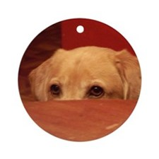 Sneaky Dog Round Ornament