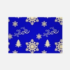 Blue Christmas Snowflakes Swirls Magnets