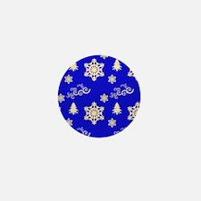 Blue Christmas Snowflakes Swirls Mini Button
