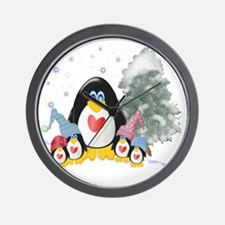 penguins winter-001 Wall Clock