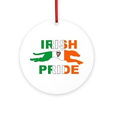 Greyhound Ornament (Round)/Irish Pride