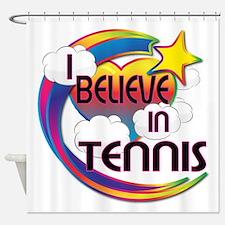 I Believe In Tennis Cute Believer Design Shower Cu