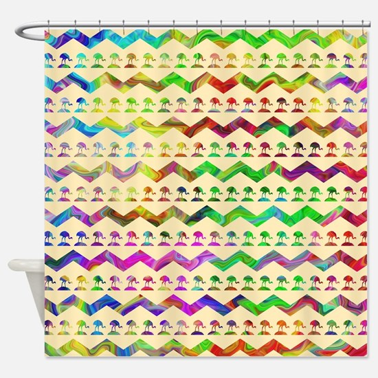 Colorful zigzags and birds. Shower Curtain