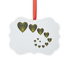 Peacock Kaleidoscope Heart Trails Ornament