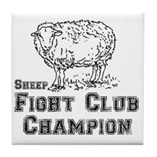 sheep fight club Tile Coaster