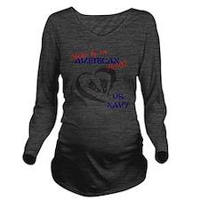 Baby of A Navy Hero Long Sleeve Maternity T-Shirt