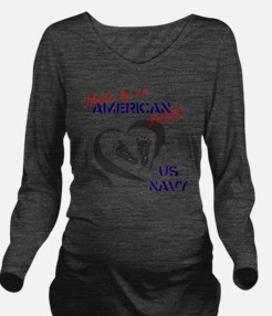 Baby of A Navy Hero Long Sleeve Maternity T-Shirt
