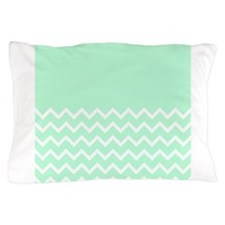 Mint Green and Zigzags. Pillow Case