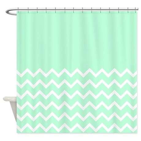 mint green and zigzags shower curtain by metarla4. Black Bedroom Furniture Sets. Home Design Ideas