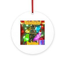 christmas budgies Round Ornament
