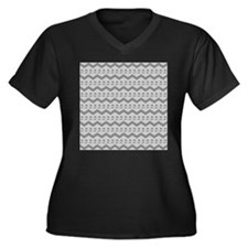 Gray Birds and Zigzags. Plus Size T-Shirt