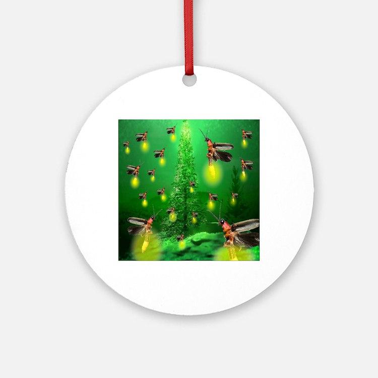 firefly_christmas_tree_1024x1024 Round Ornament