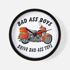Biker BadAss Boys Drive BadAss Toys Wall Clock