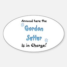 Gordon Setter Charge Oval Decal