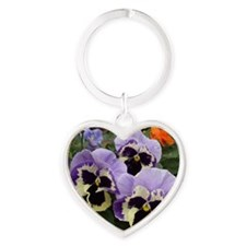 Multi colored Pansies Heart Keychain