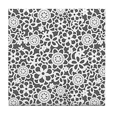 floral_lace_pattern_ipad_sleeve Tile Coaster