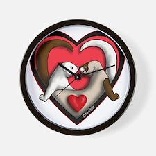 Valentine Ferret Heart Wall Clock
