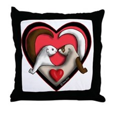 Valentine Ferret Heart Throw Pillow