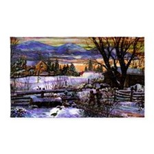 Winter Walk Home Boy Girl and Dog M 3'x5' Area Rug