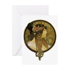 Byzantine heads - Brunette by Alphon Greeting Card