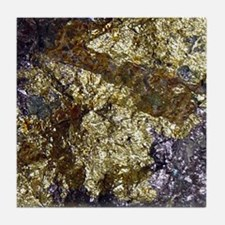 Purple-Gold-Bornite-iPad Tile Coaster