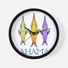 Bahamas 3-fishes Wall Clock