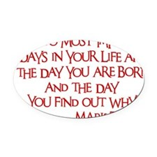 red, Two Imortant Days Oval Car Magnet