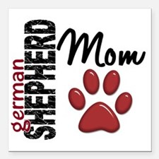 "D German Shepherd Mom 2 Square Car Magnet 3"" x 3"""