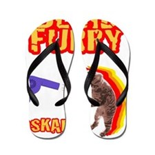 Grey Blind Furry Flip Flops
