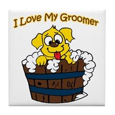I love my groomer copy Tile Coaster