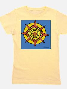 Aztec Sun Glyph Blue Girl's Tee