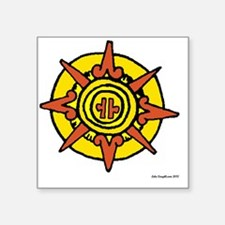 "Aztec Sun Glyph White Square Sticker 3"" x 3"""