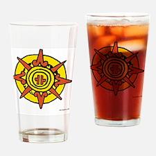 Aztec Sun Glyph White Drinking Glass