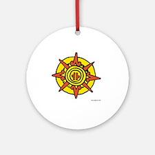 Aztec Sun Glyph White Round Ornament