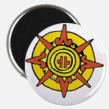 Aztec Sun Glyph White Magnet