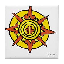Aztec Sun Glyph White Tile Coaster