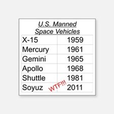 """US Manned Space Vehicles Square Sticker 3"""" x 3"""""""