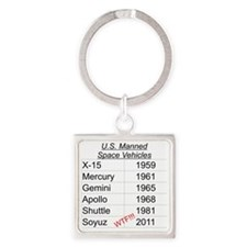 US Manned Space Vehicles Square Keychain