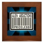 Alien Abduction Priceless Barcode Framed Tile