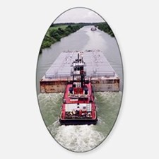 Work Boat on Texas  canal with barg Decal
